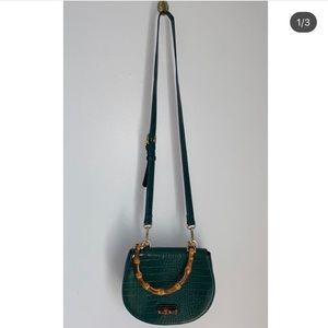 Green Leather, Bamboo Detailed Purse.